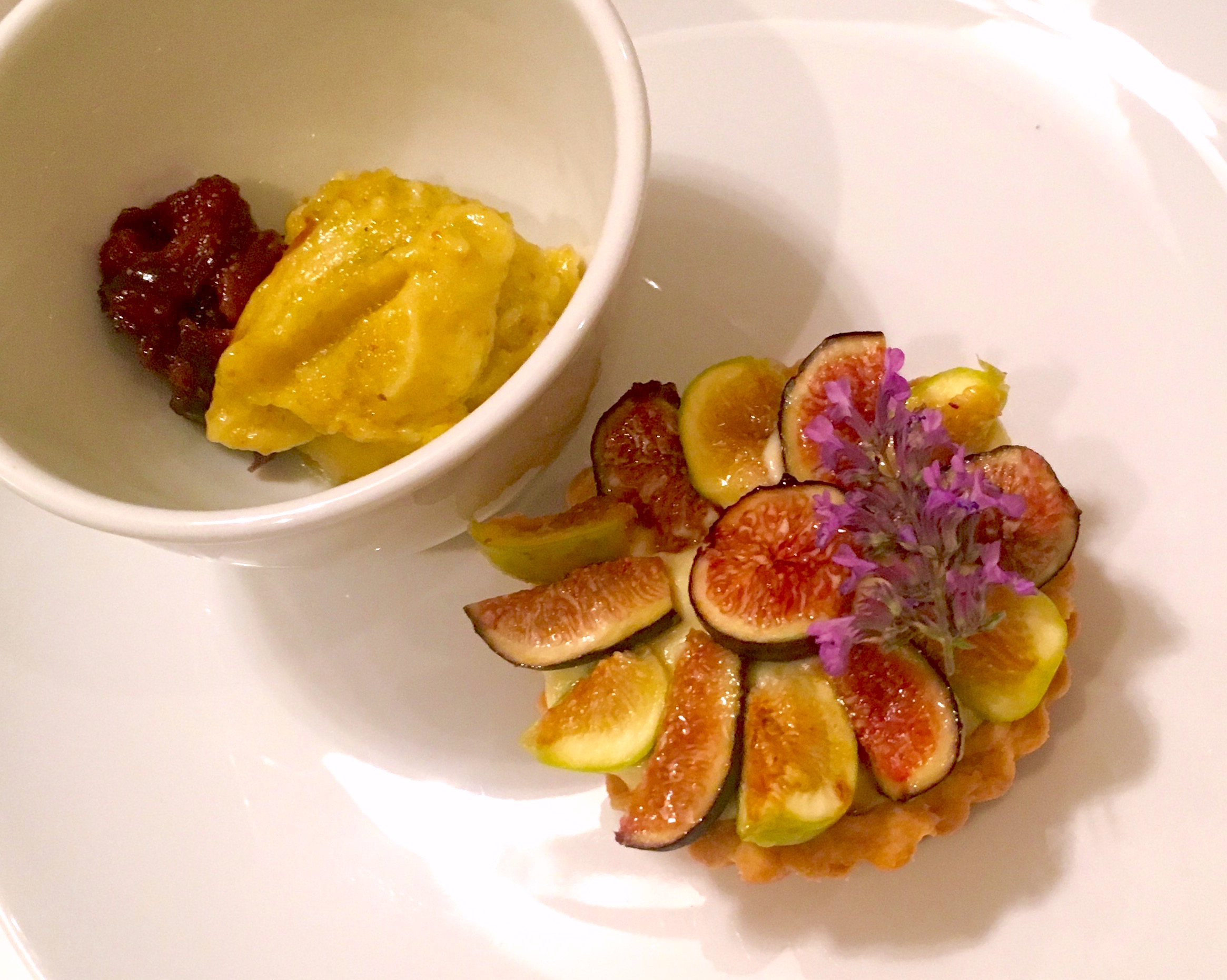 FIGS: fig tart on fig leaf pastry cream; black fig and green fig sorbets