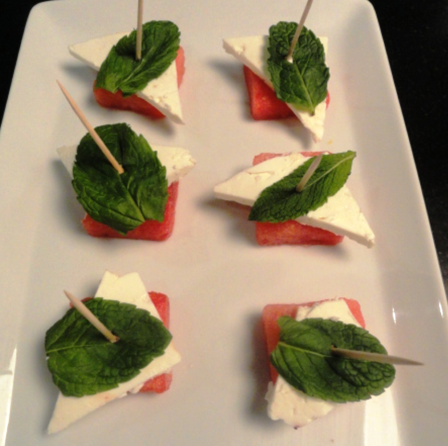 Watermelon, feta, and mint crostini.JPG
