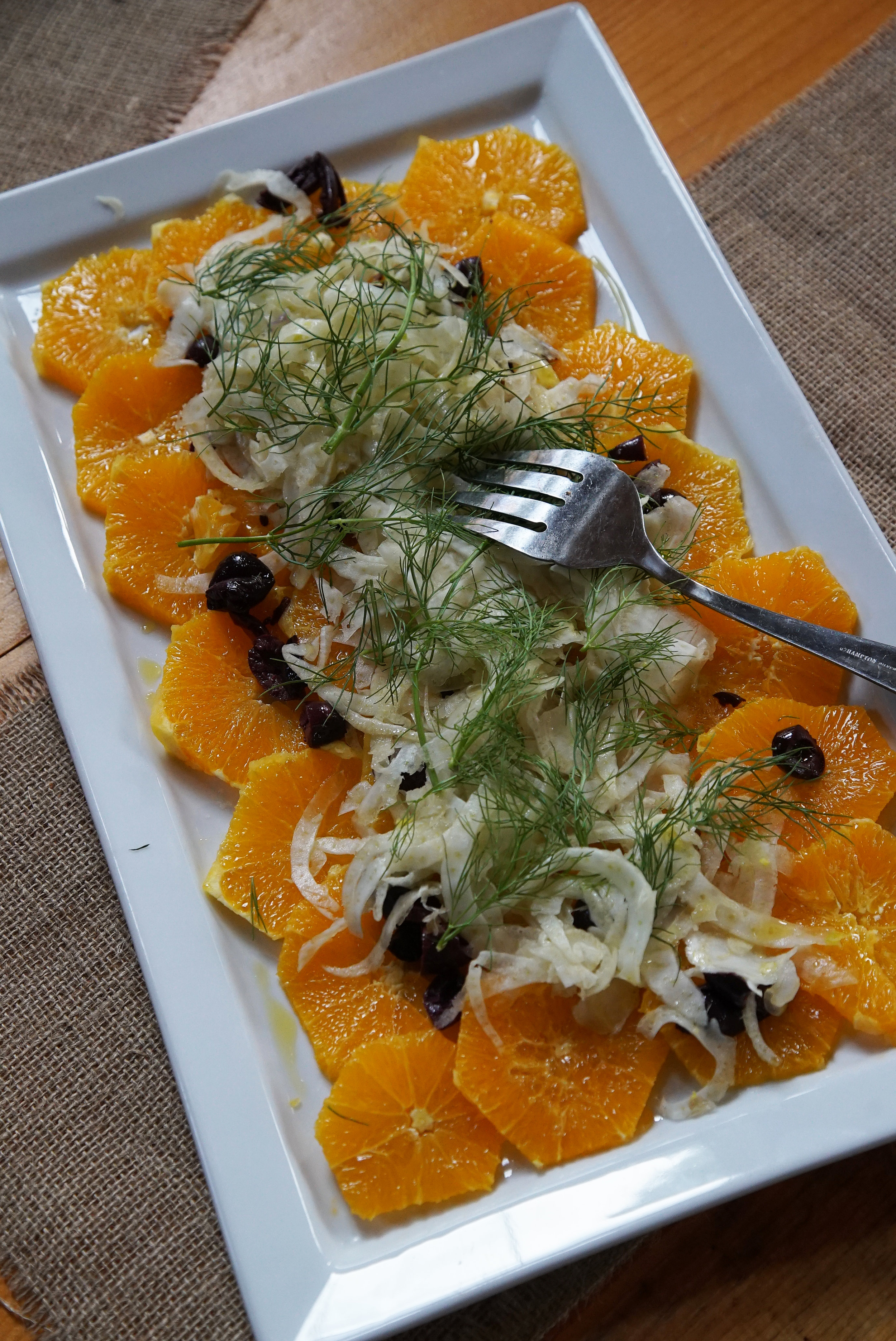 Orange, fennel, and black olive salad