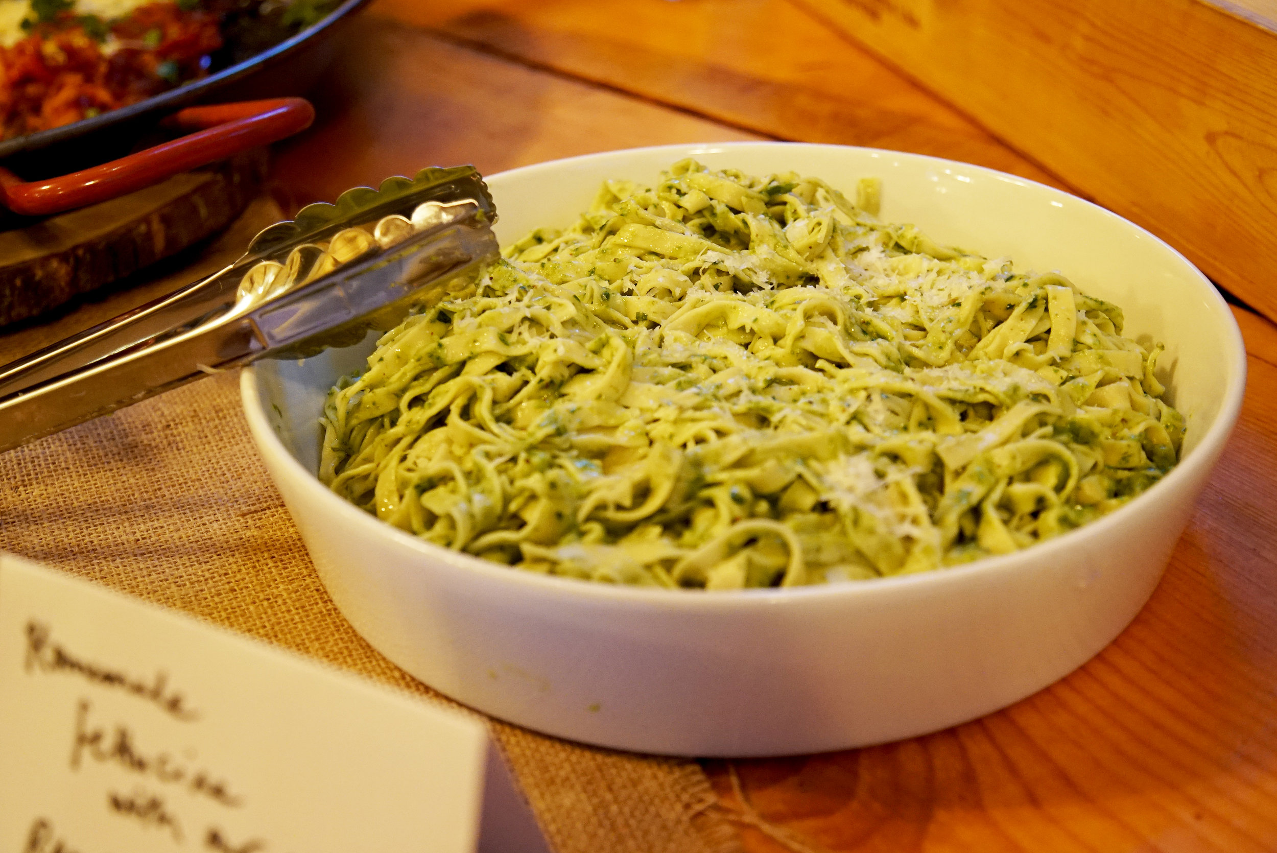 Homemade fettucine with homemade ramp-almond pesto