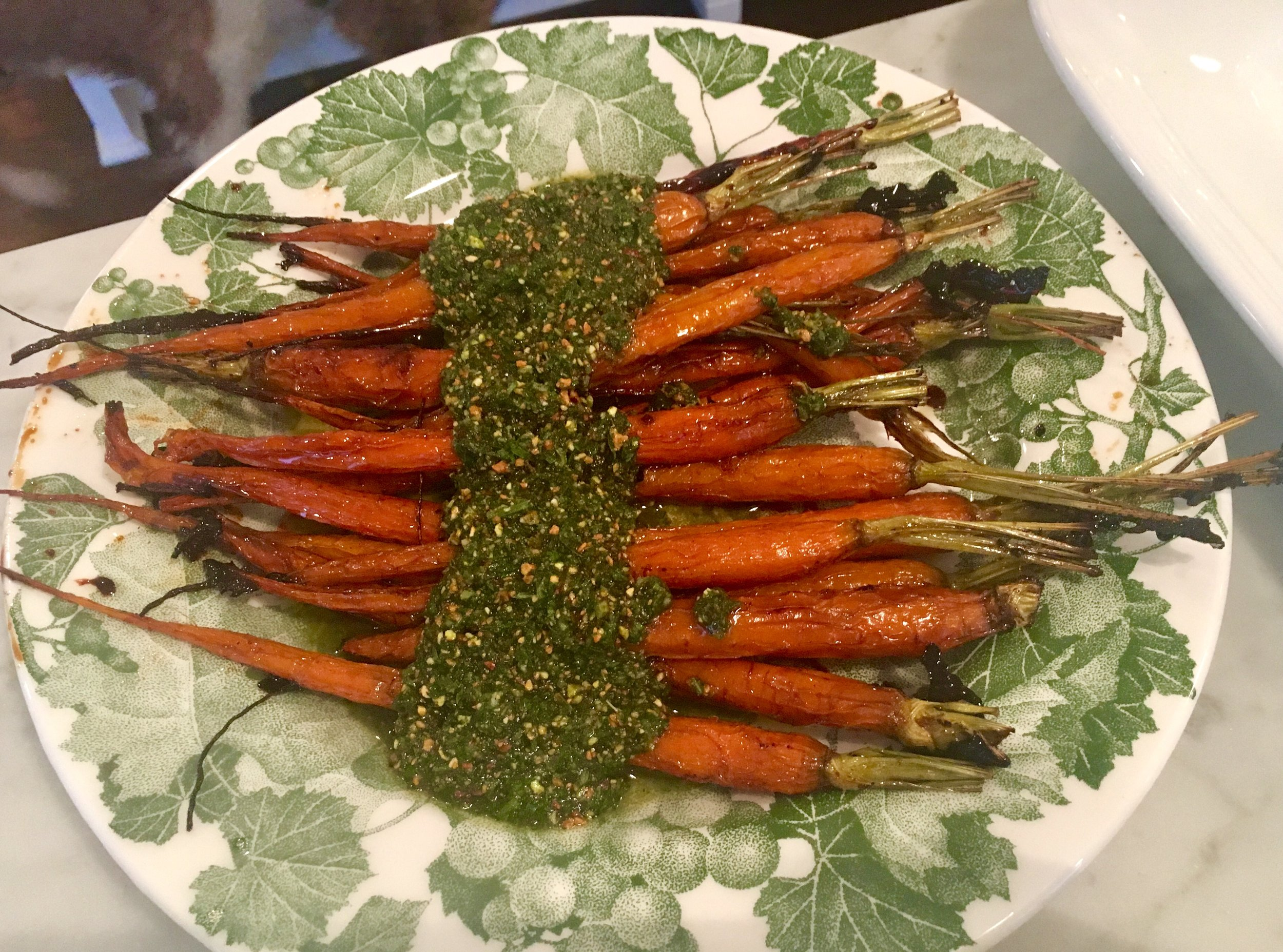 Balsamic roasted carrots with carrot top pesto