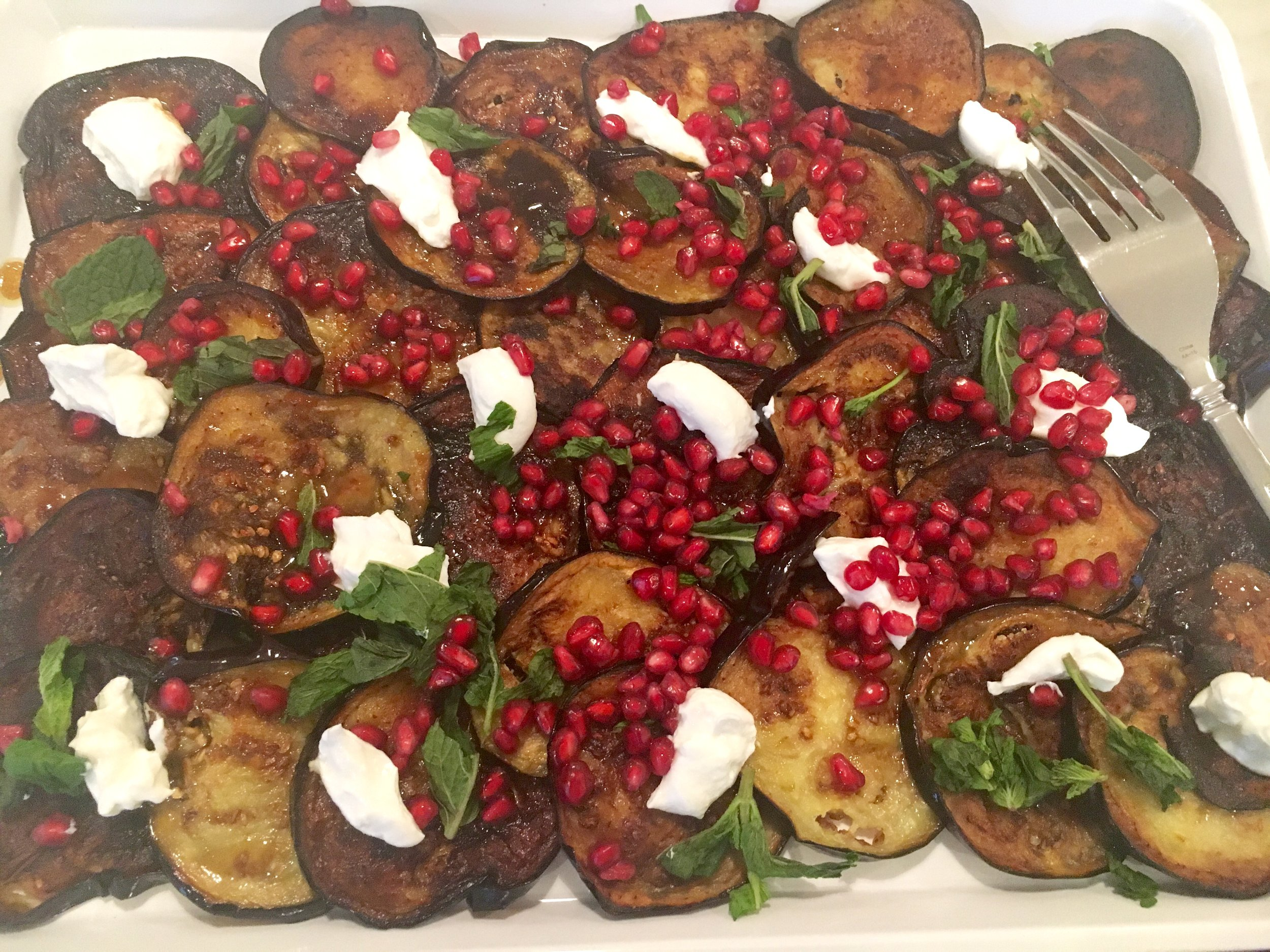 Eggplant with labneh, pomegranate and pomegranate molasses