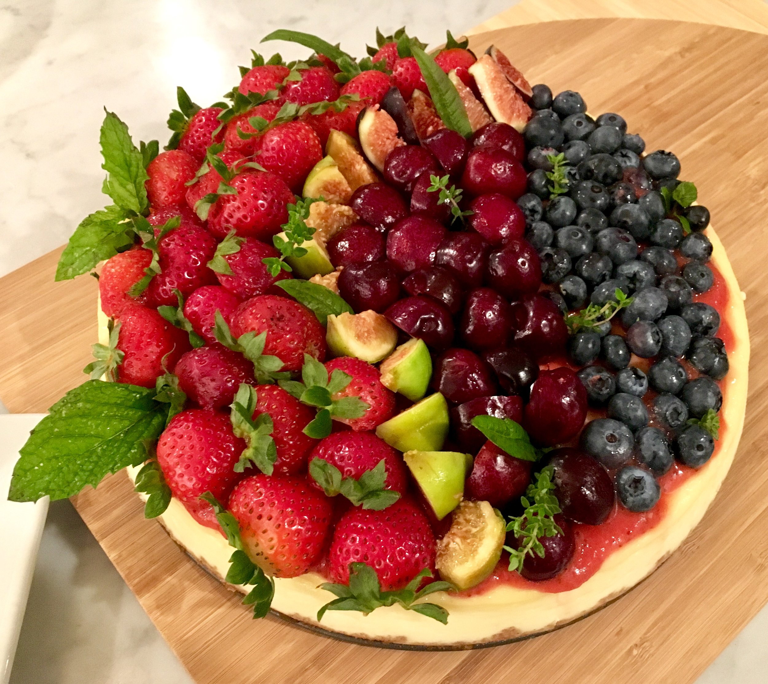 New York cheesecake with summer fruits