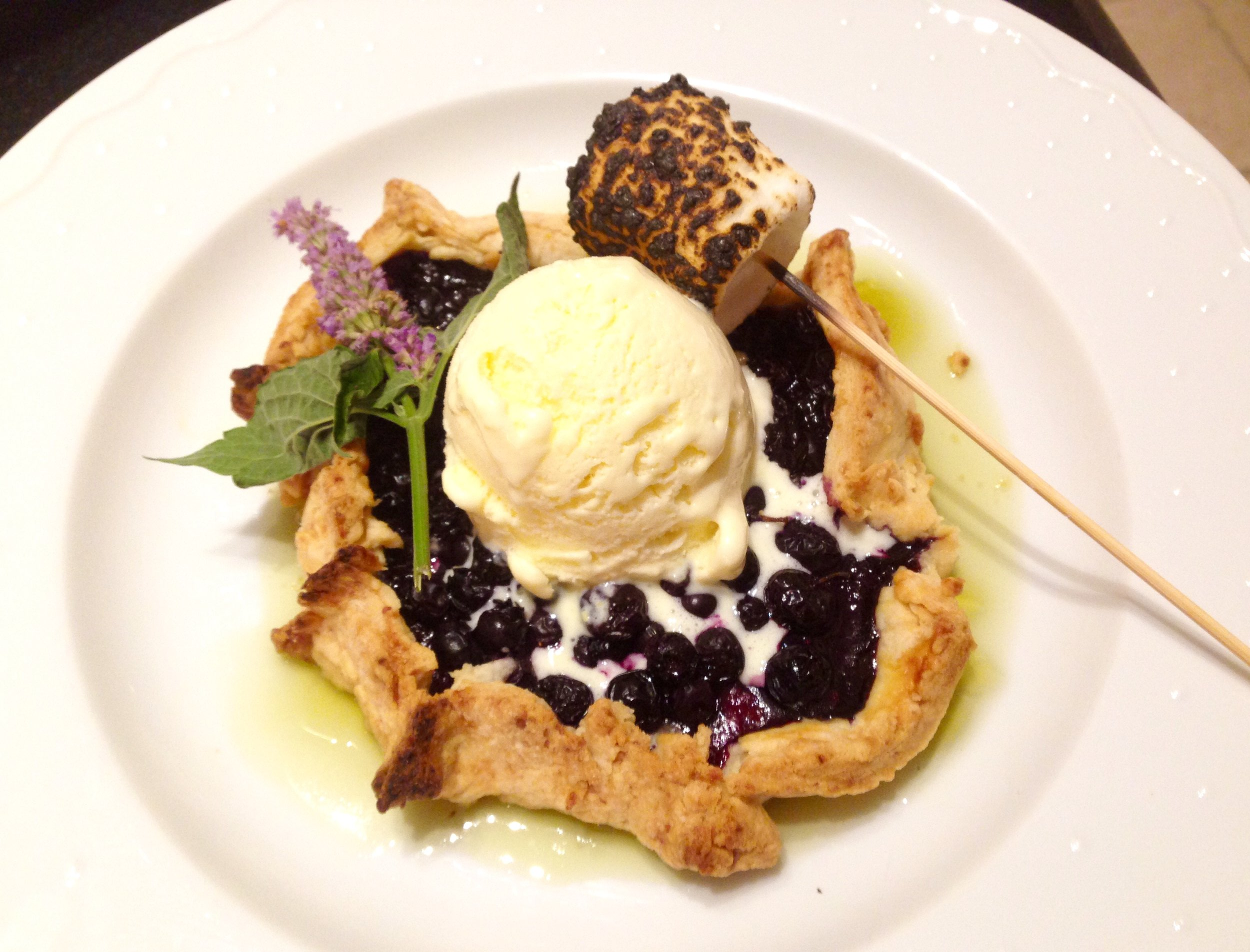 Blueberry tartlet, sweet corn ice cream, basil gelee, burnt marshmallow.jpg