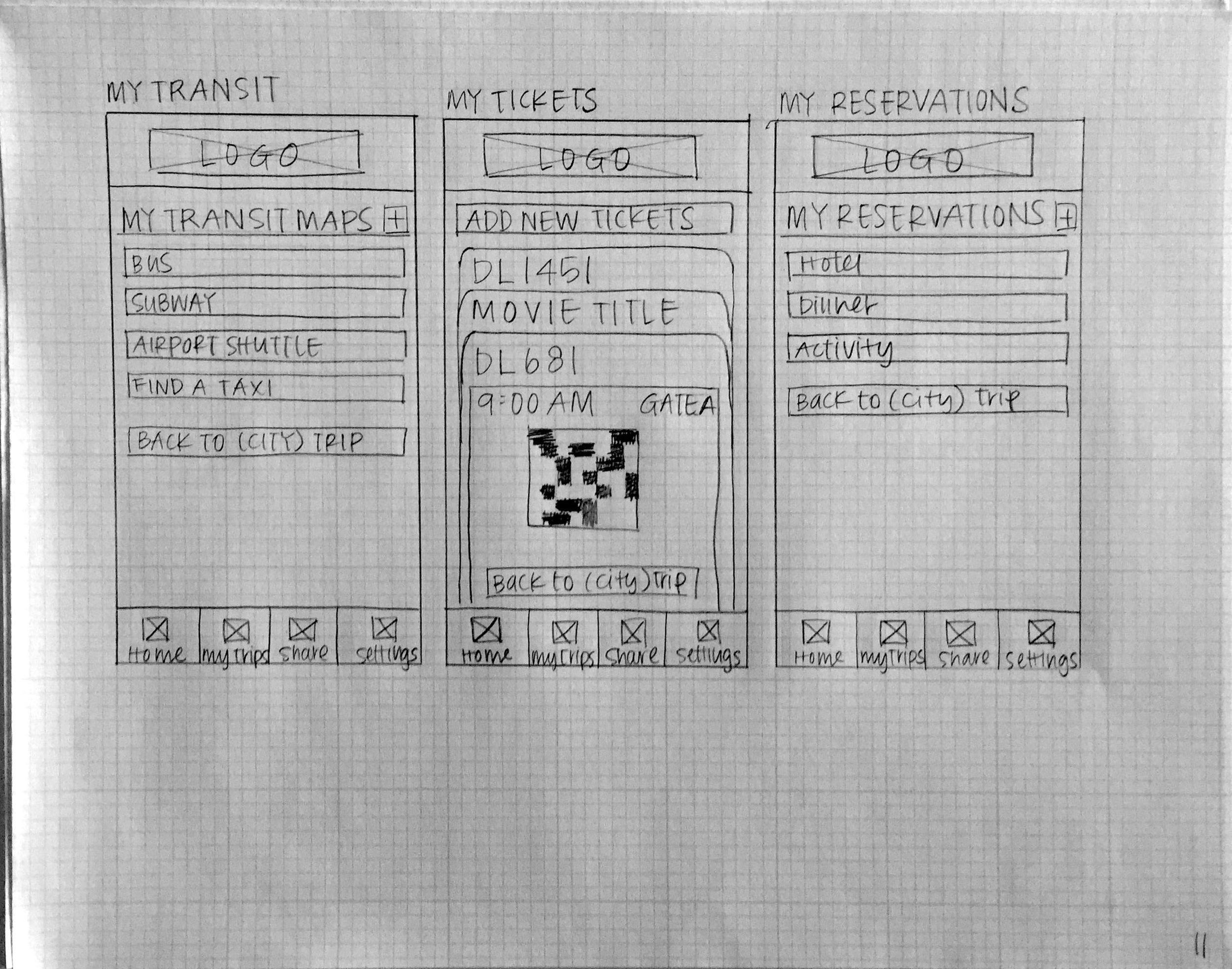 A sample wireframe sketch demonstrating one of many iterations I created when designing the app.