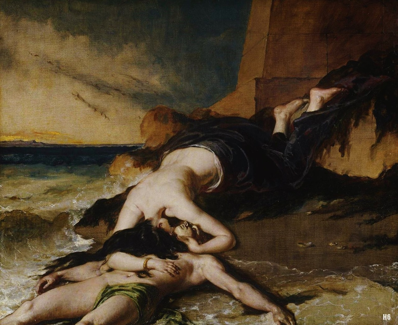 Hero, Having Thrown herself from the Tower at the Sight of Leander Drowned, Dies on his Body by William Etty, 1829