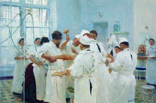 The Surgeon E. Pavlov in the Operating Theater by Liya Repin, 1888