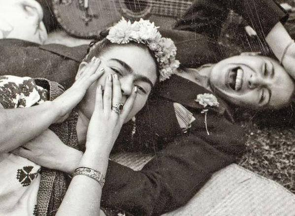 Frida Kahlo and Chavela Vargas at Casa Azul by Augustin Estrada, 1945