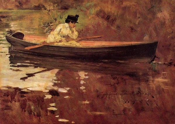 Mrs. Chase in Prospect Park by William Merritt Chase, 1886-87