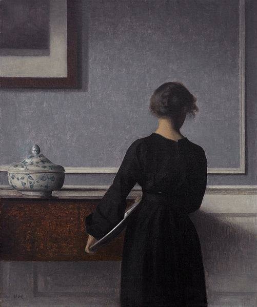 Interieur mit Ruekenansicht einer Frau (Interior with Young Woman from Behind) by Vilhelm Hammershoi, 1903-04