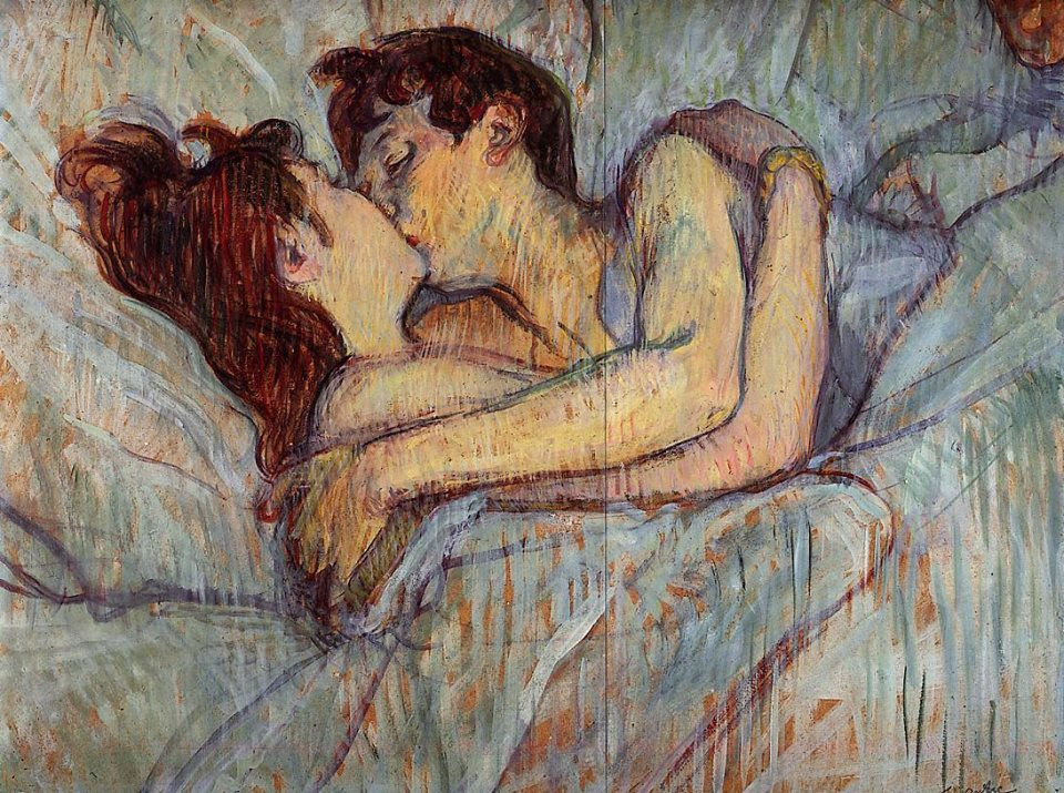 In Bed: The Kiss by Henri de Toulouse-Lautrec, 1892