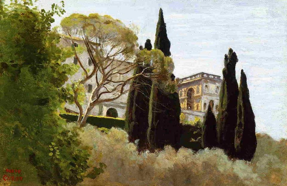 The Facade of the Villa d'Este at Tivoli (View from the Gardens) by Camille Corot, 1843.jpg