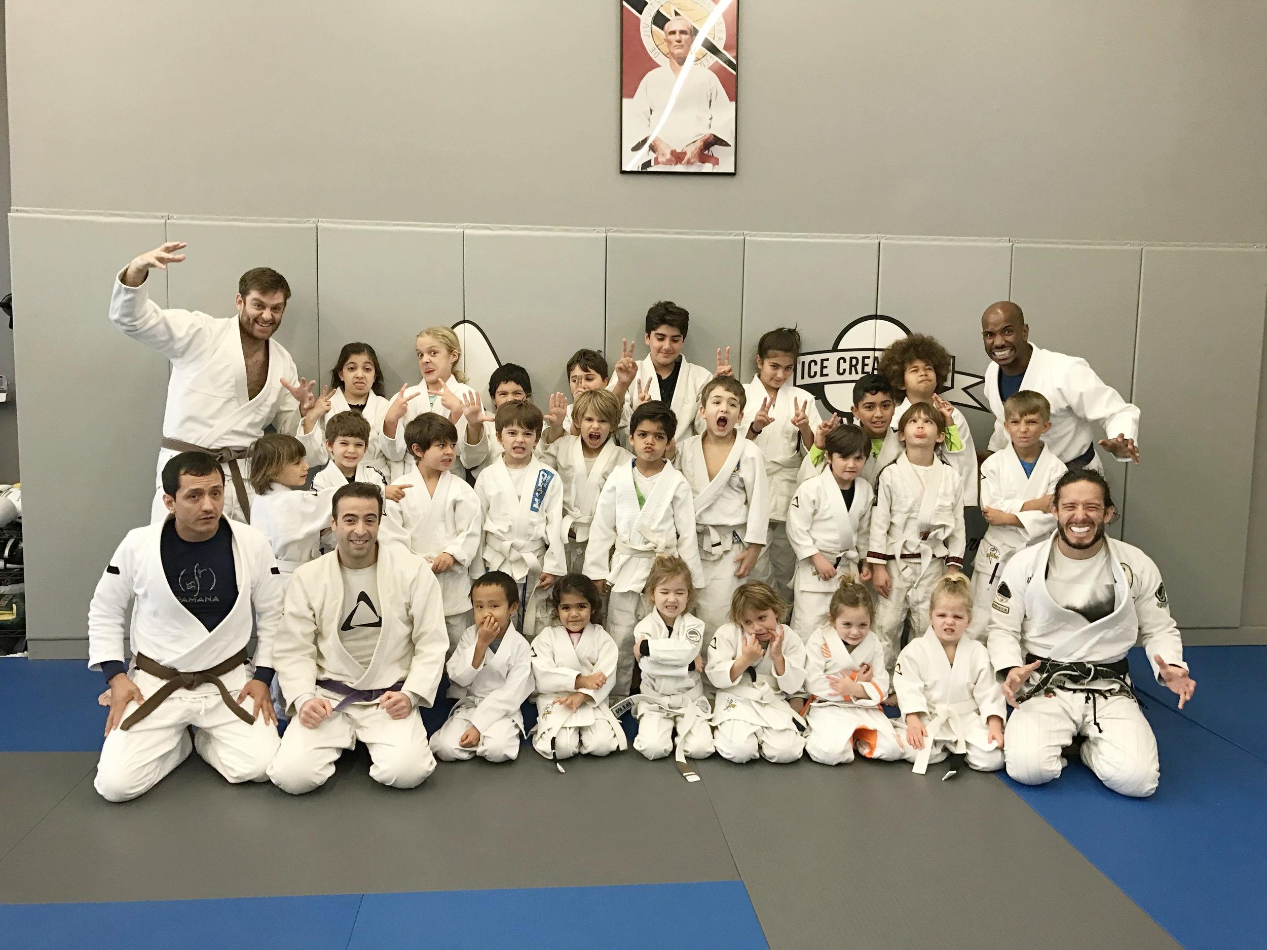 Kids class at Kron Gracie Jiu-Jitsu (silly faces)