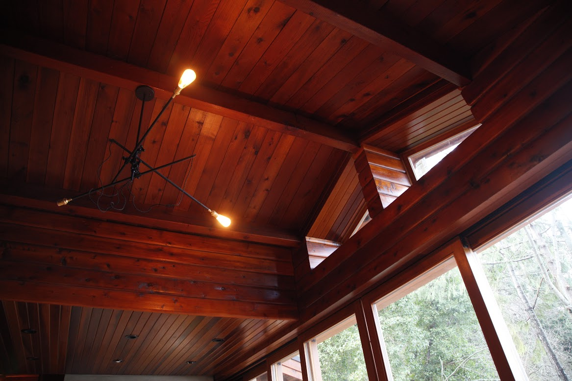 In the living area of our Madrona Home renovation, we have used a combination of ambient and overhead lighting