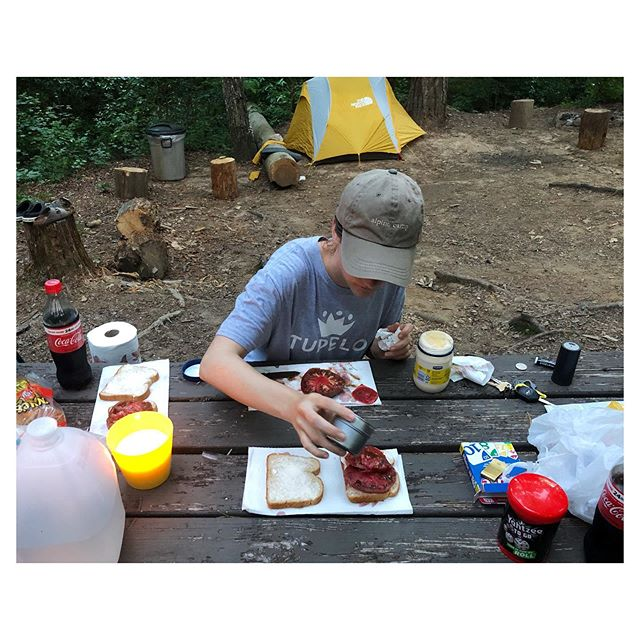 Camping and Cherokee Purple tomato sandwiches 🍅⛺️