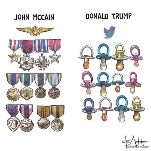I support and respect a hero @senjohnmccain who helped build a better #AMERICA . Not an egotistical child playing dress up.