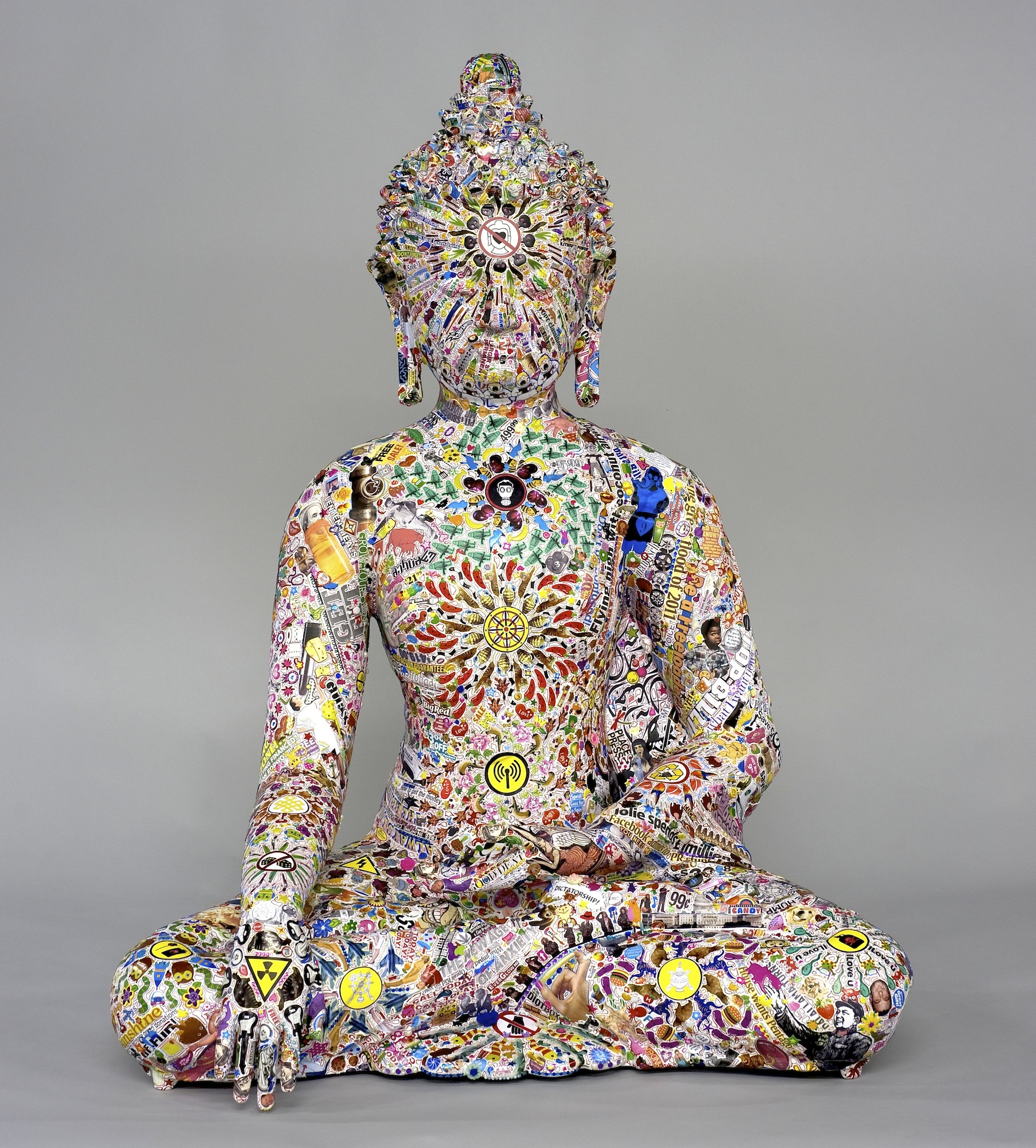 Gonkar Gyatso stickered sculpture No Love Buddah.jpg