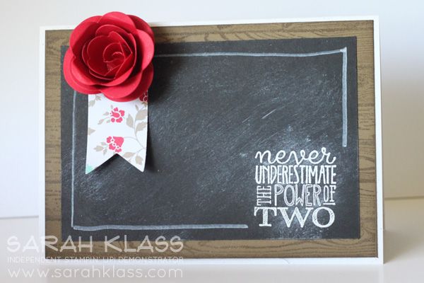 Stamps:  Yippee Skippee, Hardwood  Paper:  Naturals White, Soft Suede, Basic Black, Real Red, Whisper White, Fresh Prints DSP Stack  Ink:  Whisper White, Soft Suede  Accessories:   Banners Framelits, Spiral Flower Bigz Die, White Embossing Powder, White Stampin' Chalk Marker, Stampin' Sponges