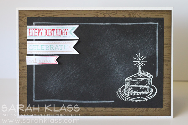 Stamps:   Sketched Birthday, Hardwood   Paper:  Naturals White, Soft Suede, Basic Black, Whisper White   Ink:   Whisper White, Soft Suede   Accessories:   Stampin Write Markers - Real Red, Coastal Cabana & Crumb Cake; Itty Bitty Banners Framelits, White Embossing Powder, White Stampin' Chalk Marker, Stampin' Sponges