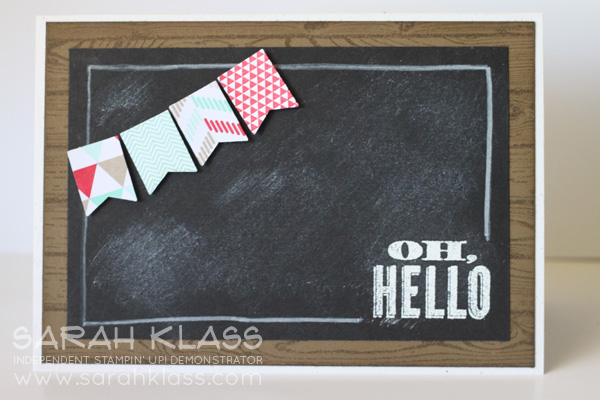 Stamps:  Oh Hello, Banner Blast (SAB) Hardwood  Paper:  Naturals White, Soft Suede, Basic Black, Real Red, Whisper White, Fresh Prints DSP Stack  Ink:  Whisper White, Soft Suede, Real Red, Coastal Cabana  Accessories:   Banner Punch (SAB), White Embossing Powder, White Stampin' Chalk Marker, Stampin' Sponges