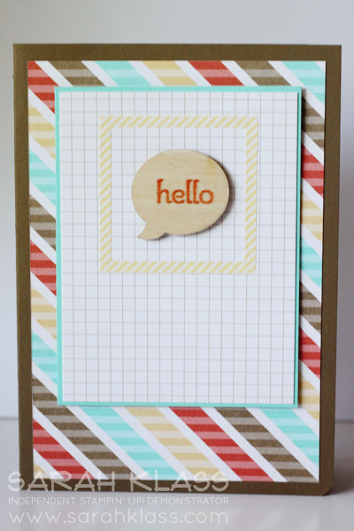 """Stamps:   A Dozen Thoughts  Ink:   Tangerine Tango   Paper:   Soft Suede, Coastal Cabana, Retro Fresh DSP   Accessories:   Retro Fresh Designer Journaling Tags,Retro Fresh""""This and That"""" Designer Stickers, Essentials Wooden Elements"""