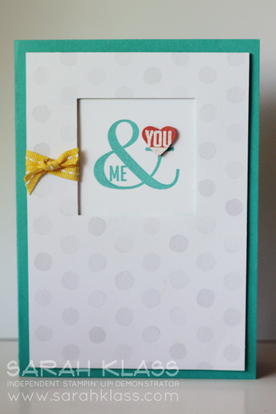 Stamps:   Perfect Pennants   Ink:   Bermuda Bay, Versamark   Paper:  Bermuda Bay, Calypso Coral, Whisper White, Watercolor Wonder DSP  Accessories:  Square Framelits, Small Heart Punch, Daffodil Delight Stitched Ribbon, White Embossing Powder, Stampin' Dimensionals