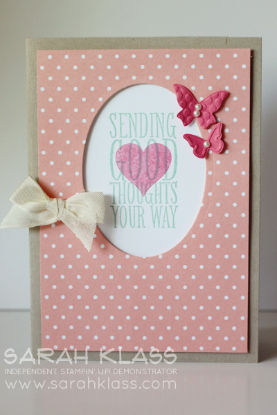 Stamps:  Perfect Pennants  Ink:  Coastal Cabana, Strawberry Slush  Paper:   Crumb Cake, Whisper White, Crisp Canteloupe DSP   Accessories:  Oval Framelits, Beautiful Wings Embosslits, Basic Pearls, Very Vanillla Seam Binding, Stampin' Dimensionals