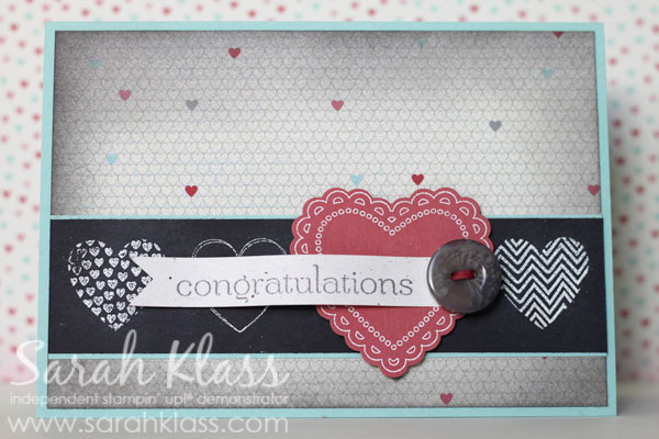 Stamps:   Hearts a Flutter, Sweet Essentials   Paper:   Pool Party, Basic Black, Primrose Petals, Naturals White, More Amore Specialty DSP   Ink:   Whisper White Craft Ink, Basic Gray   Accessories:   Hearts a Flutter Framelits, Neutrals Buttons (Basic Gray), Whisper White Embossing Powder, Stampin' Sponges, Stampin' Dimensionals