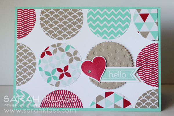 """Stamps:   Perfect Pennants   Ink:   Real Red, Coastal Cabana   Paper:   Coastal Cabana, Crumb Cake, Whisper White, Fresh Prints DSP Stack   Accessories:   Starburst Framelits, Banner Framelits, 1-3/4"""" Circle Punch, Decorative Dots Embossing Folder (upcoming in the new catalogue!), Basics Jewels, Stampin' Dimensionals"""