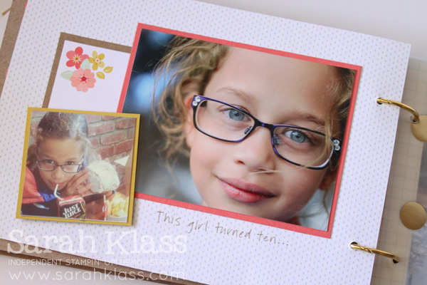 I added some co-ordinating colours of cardstock to border the photos on this page...