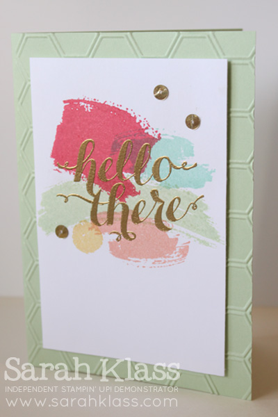 Stamps:    Work of Art, Hello There (hostess)    Paper:    Pistachio Pudding, Whisper White    Ink:    Strawberry Slush, Coastal Cabana, Pistachio Pudding, Crisp Canteloupe, So Saffron, Versamark    Accessories:    Honeycomb Embossing Folder, Gold Embossing Powder, Sequin Trim