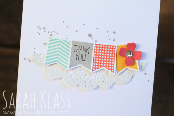 Boldly patterned banner stamps + bright colours = sweet and simple