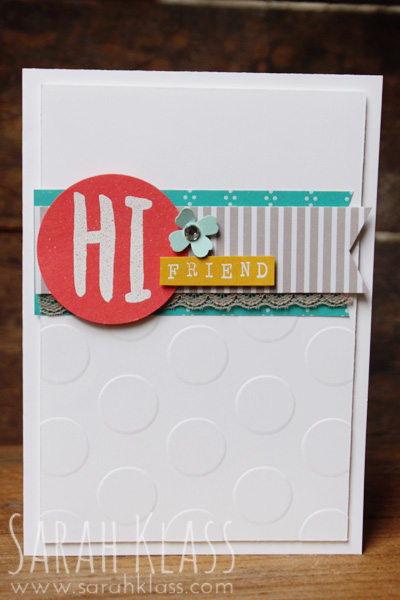 "Stamps:    Layered Letters Alphabet,  Alphabet Rotary Stamp   Paper:   Whisper White,  Watermelon Wonder , Crushed Curry Pool Party,      Cherry on Top DSP Stack    Ink:   Versamark   Accessories:   Large Polka Dot Embossing Folder, 1-3/4"" Circle Punch, Itty Bitty Accents Punch Pack, White Embossing Powder,  Tip Top Taupe Dotted Lace Trim,  Rhinestone Basic Jewels, STampin' Dimensionals"