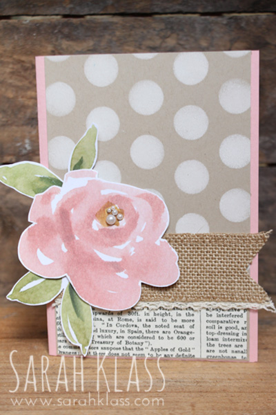 Ink:   Whisper White   Paper:   Blushing Bride, Crumb Cake, Typeset Specialty DSP, English Garden DSP   Accessories:   Dots and Stripes Decorative Mask, Burlap Ribbon, Venetian Crochet Trim, Basic Pearl Jewels, Sponge Daubers