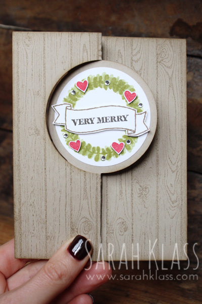 Stamps:   Endless Thanks, Hardwood, And Many More   Paper:   Crumb Cake, Whisper White   Ink:   Pear Pizzazz, Old Olive, Real Red, Soft Suede, Early Espresso   Accessories:   Circle Card Thinlits, Circle Collection Framelits, Rhinestone Basic Jewels, Stampin' Sponges