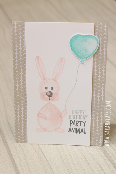 {Materials for all cards}   Stamps:   Balloon Builders   Paper:   Whisper White, It's My Party Designer Series Paper   Ink:   Blushing Bride, Pool Party, Bermuda Bay, Calypso Coral, Crumb Cake, Smoky Slate, Basic Gray Archival   Accessories:   Balloon Bouquet Punch,     Stampin' Dimensionals
