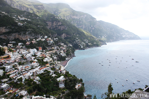 Looking down over Positano