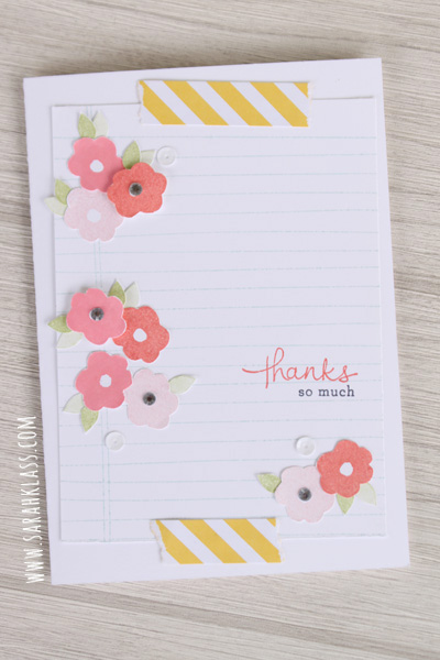Stamps:   Endless Thanks, Writing Notes   Paper:   Whisper White, Whisper White thick card stock, Brights Designer Series Paper Stack   Ink:   Soft Sky, Blushing Bride, Flirty Flamingo, Cameo Coral, Pear Pizzazz, Memento Tuxedo Black   Accessories:   Metallics Sequin Assortment, Rhinestone Basic Jewels
