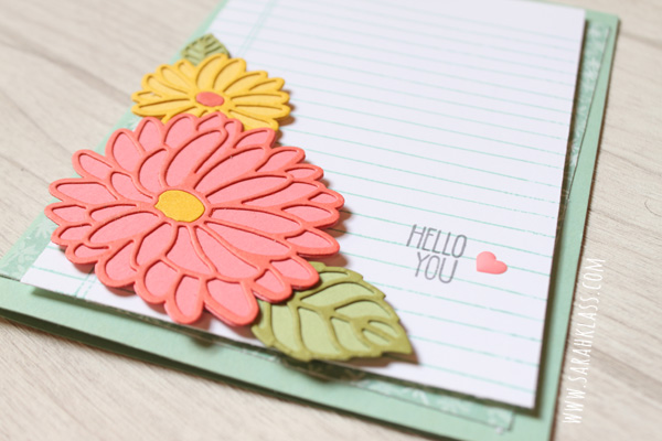 A simple greeting and a tiny embellishment keep the flowers as the focus and finish off the card nicely