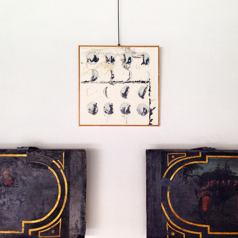 Studio per fasilunari (Study for lunar phases), 70 x 70 cm., felt-pen and glazes on framed paper 2002