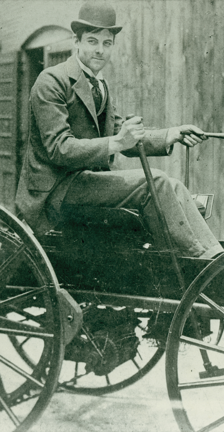 J.D. Perry Lewis built this battery-powered horseless vehicle, the first in St. Louis. Photograph, ca. 1893. Missouri History Museum.