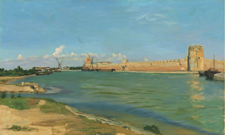 Frédéric Bazille, French, 1841–1870; The Ramparts at Aigues-Mortes, 1867; oil on canvas; 23 5/8 x 39 3/8 inches; National Gallery of Art, Washington, D.C., Collection of Mr. and Mrs. Paul Mellon, 1985.64.1 Image courtesy of the National Gallery of Art, Washington