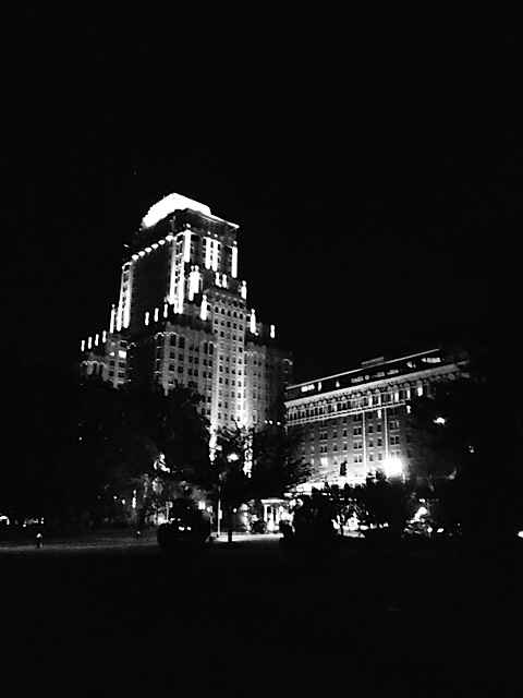 """ The view of my hotel, the Chase Park Plaza, from the Park."""
