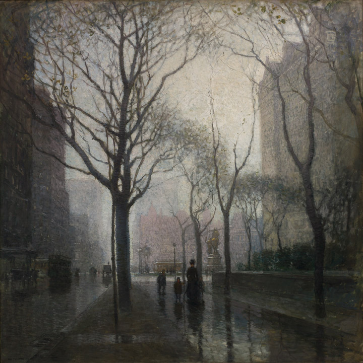 Paul Cornoyer, American, 1864–1923;  The Plaza after the Rain , 1908; oil on canvas; 59 1/4 x 59 1/4 inches