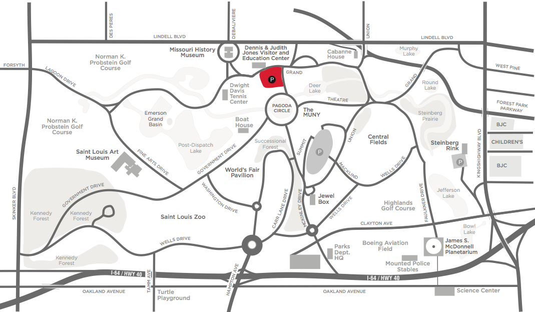 The Visitor Center lots are highlighted here in red. Click to view larger.