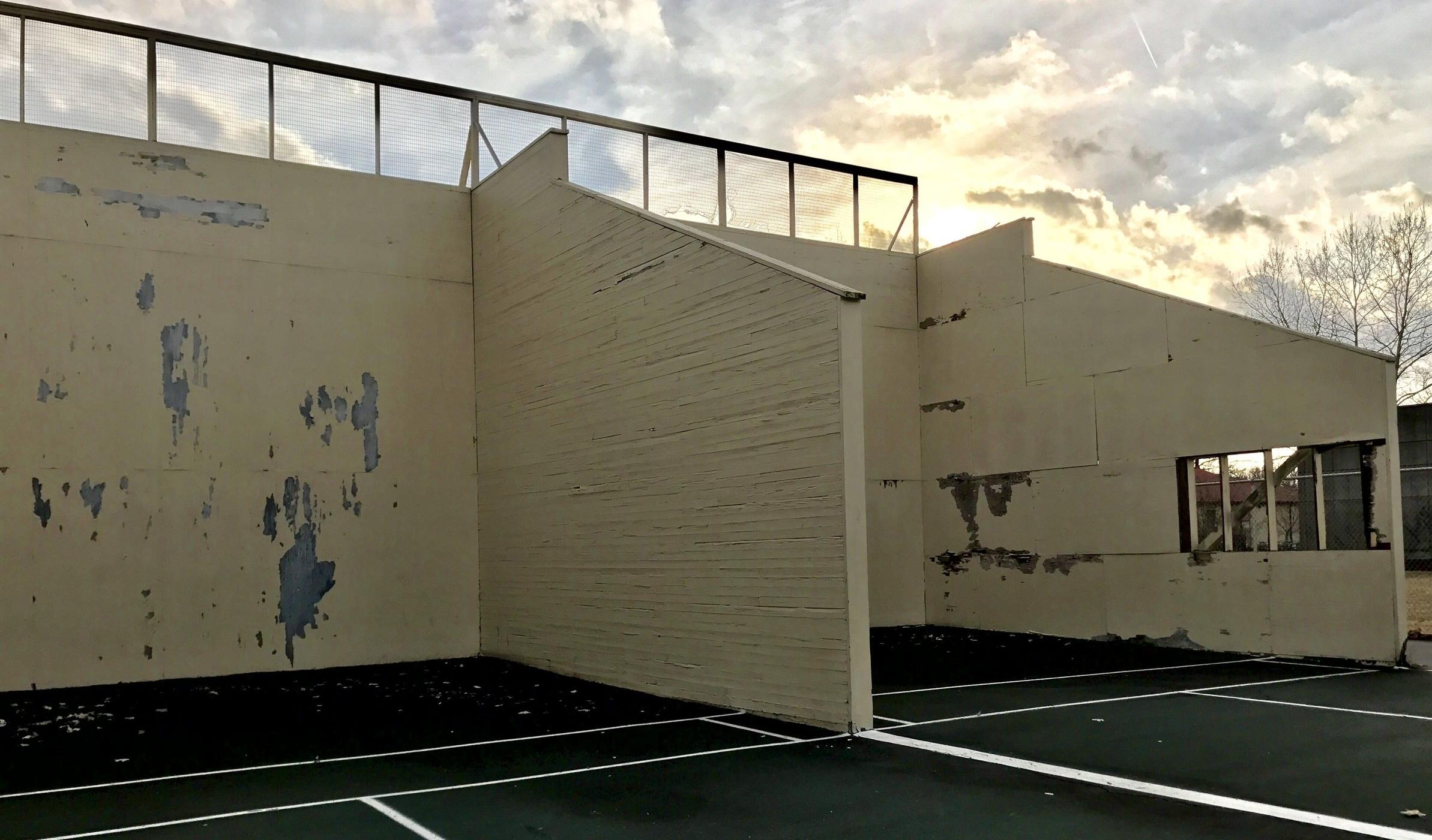 A look at the handball courts before repairs begin.