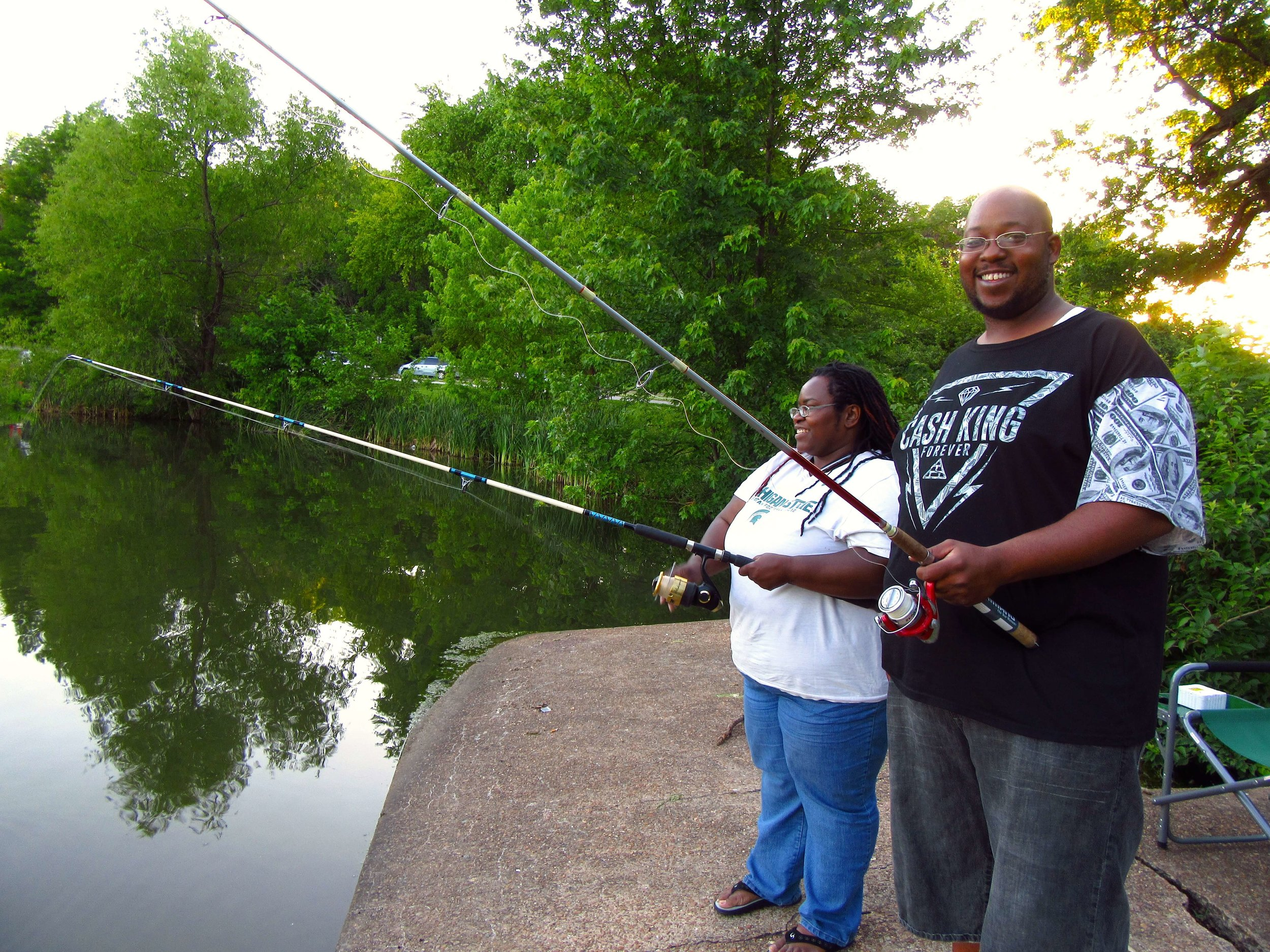 Tramona and Eric are on the hunt for blue gill, crappie, bass and catfish.