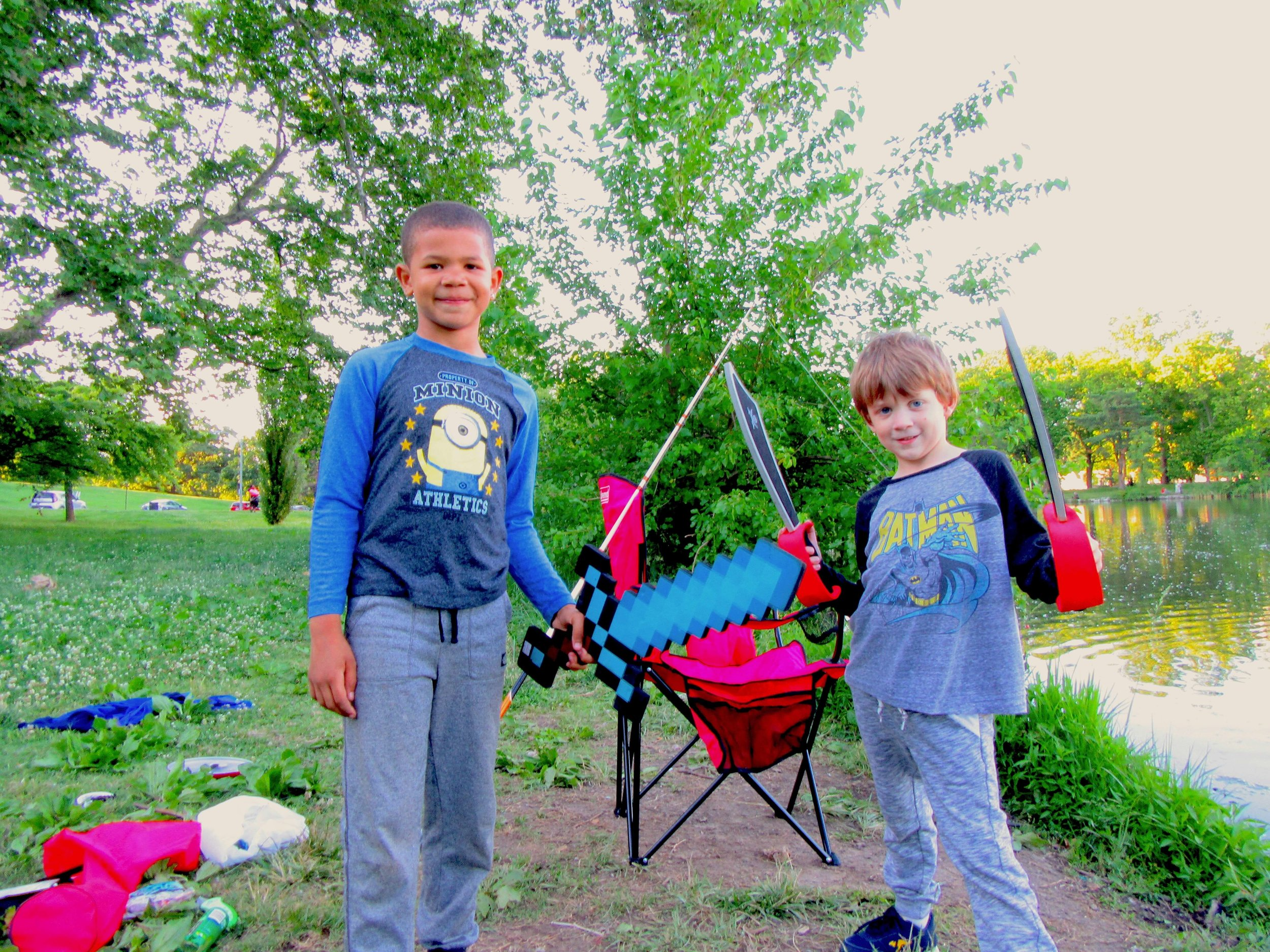 Mark's son Seamus and his friend Angelo are certain swords are a very important part of fishing.