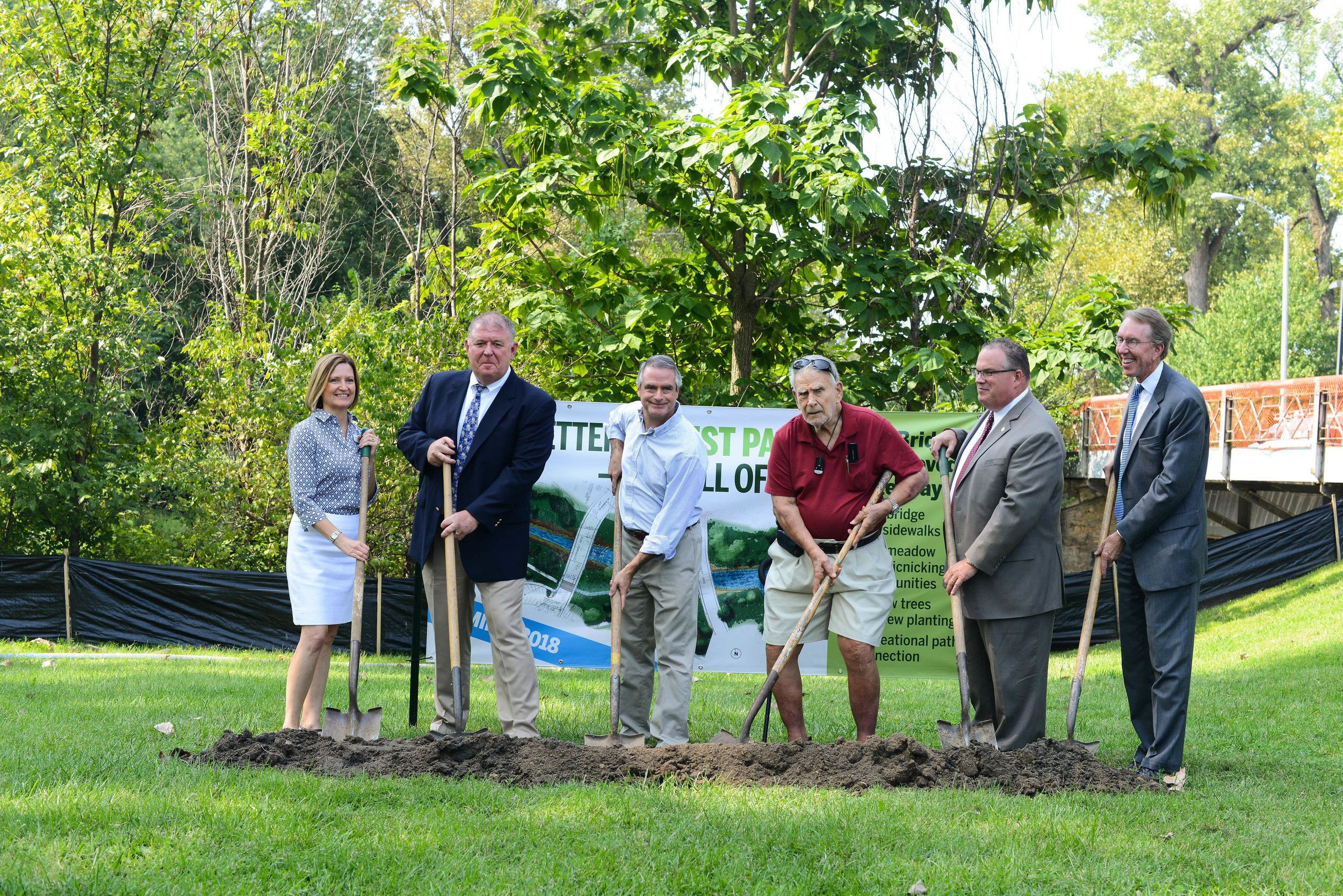 Forest Park Forever President & Executive Director Lesley Hoffarth, City of St. Louis Department of Parks, Recreation & Forestry Director Greg Hayes, project donors Dwyer Brown and Alwal Moore, Board of Public Service President Rich Bradley, and Forest Park Forever Board of Directors Chairman Tom Collins break ground on this exciting project, Monday, August 28, 2017.