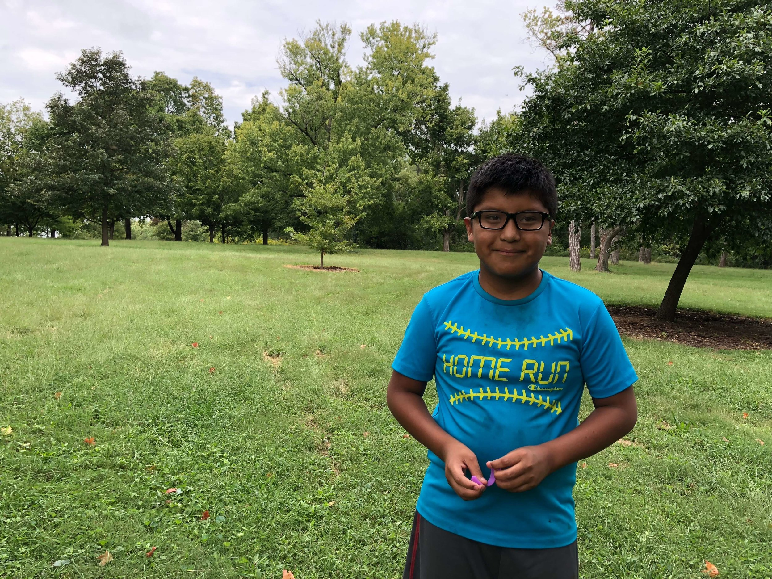 Jaden Andres Larson, sixth-grade student at Lahr Well Academy, learned how to identify trees by their patterns.